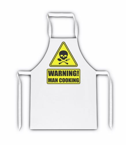 Warning Man Cooking White Adult Apron